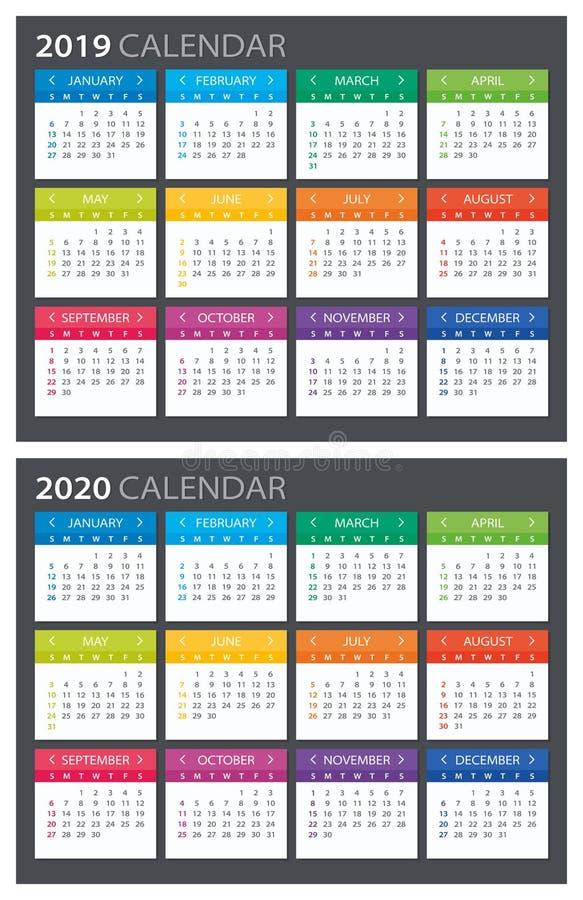 2019 2020 Calendar - illustration. 2019 Calendar - vector illustration. Template. Mock up royalty free illustration