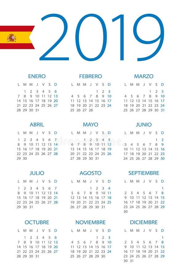 Calendar 2019 - illustration. Spanish version stock illustration