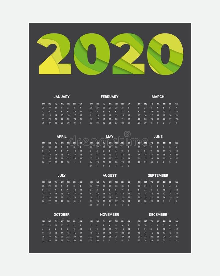 2020 Calendar - illustration. Template. Mock up stock images