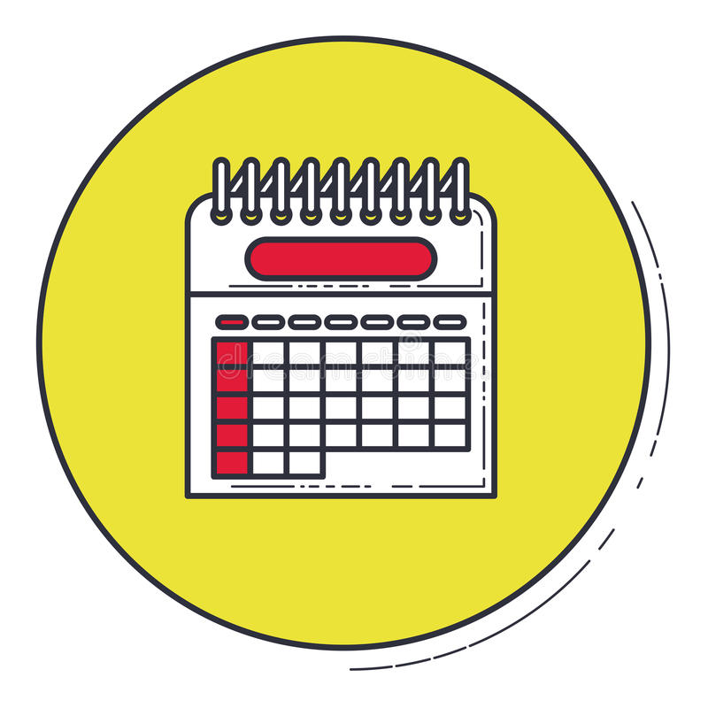 Calendar inside green button design. Calendar icon. Planner month date and time theme. Vector illustration stock illustration