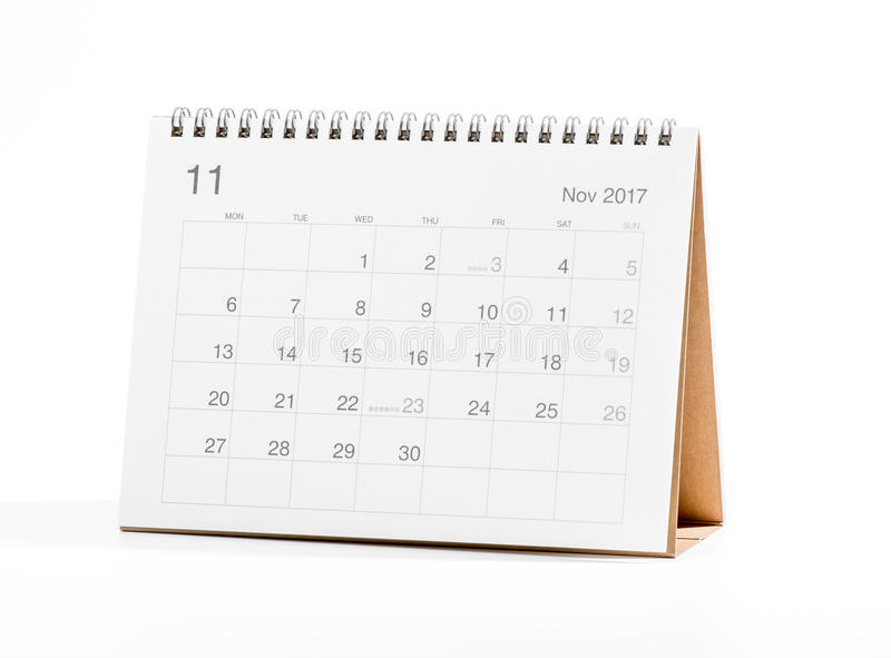 Calendar 2017. Isolated on white background royalty free stock image