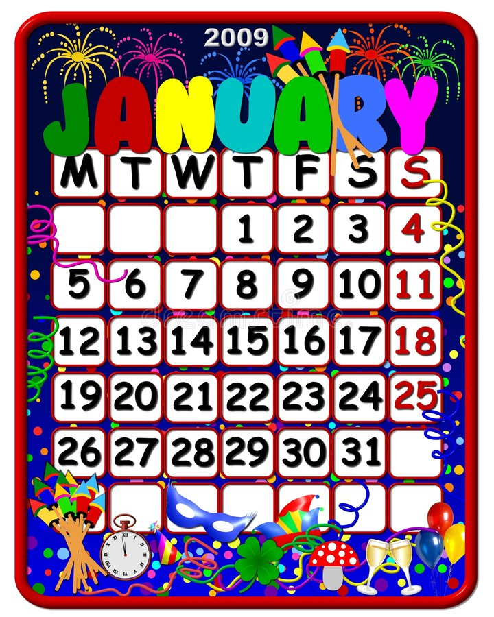 Download Calendar january 2009 stock illustration. Image of streamer - 4613499