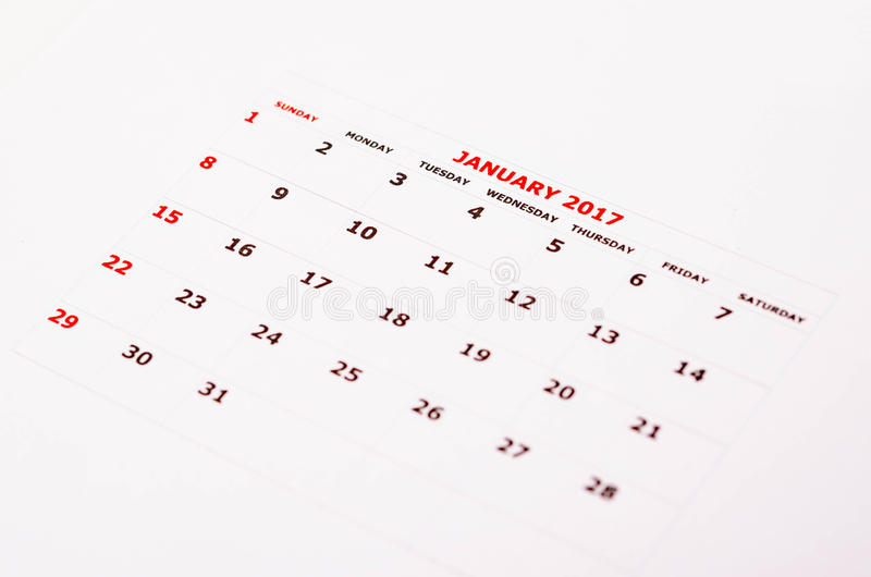 Calendar for January 2017 stock photo