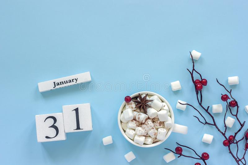 Calendar January 31 Cup of cocoa, marshmallows and branch berries royalty free stock images