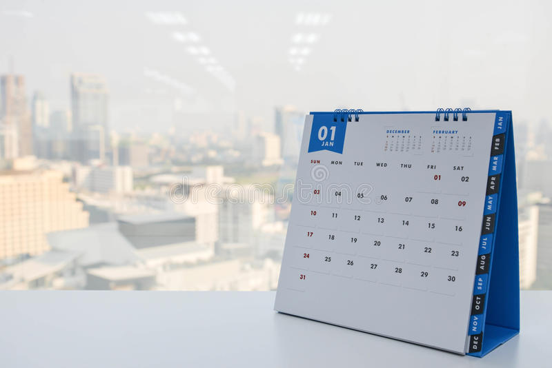 Calendar of January stock photography