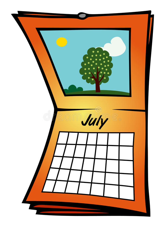 Download Calendar July stock vector. Image of vacation, wall, independence - 14553604