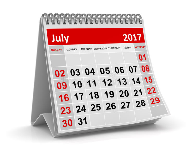 Calendar - July 2017. This is a 3d rendered computer generated image. Isolated on white royalty free illustration