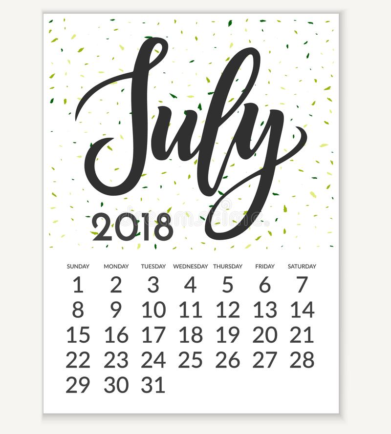 Calendar for July 2018. royalty free illustration