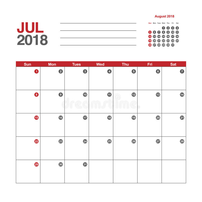 Calendar for July 2018. Template of calendar for July 2018 royalty free illustration