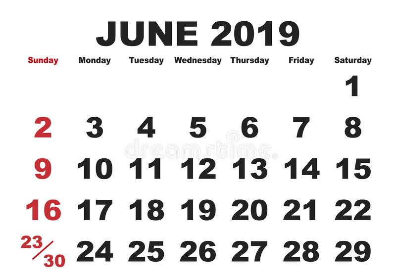 June month calendar 2019 english USA stock illustration