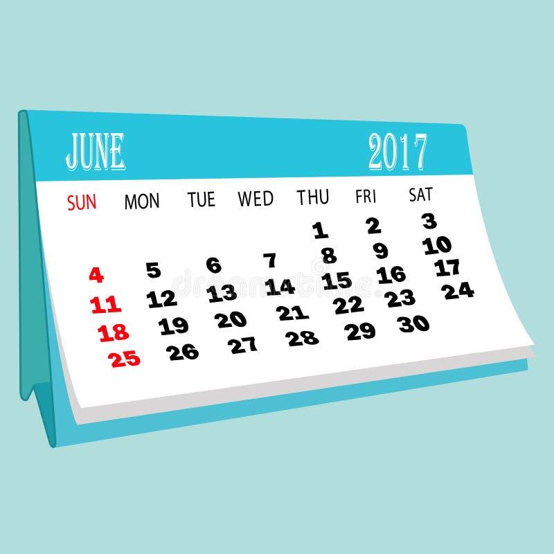 Calendar 2017 June page of a desktop calendar. 3D Rendering stock illustration