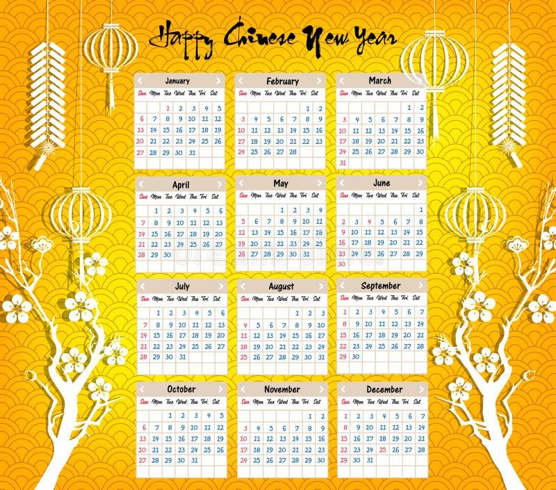 Calendar 2019 kinesiska kalender för lyckligt nytt år 2019 år av svinet vektor illustrationer