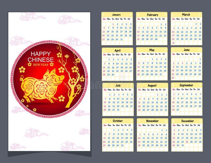Calendar 2019 kinesiska kalender för lyckligt nytt år 2019 år av svinet royaltyfri illustrationer