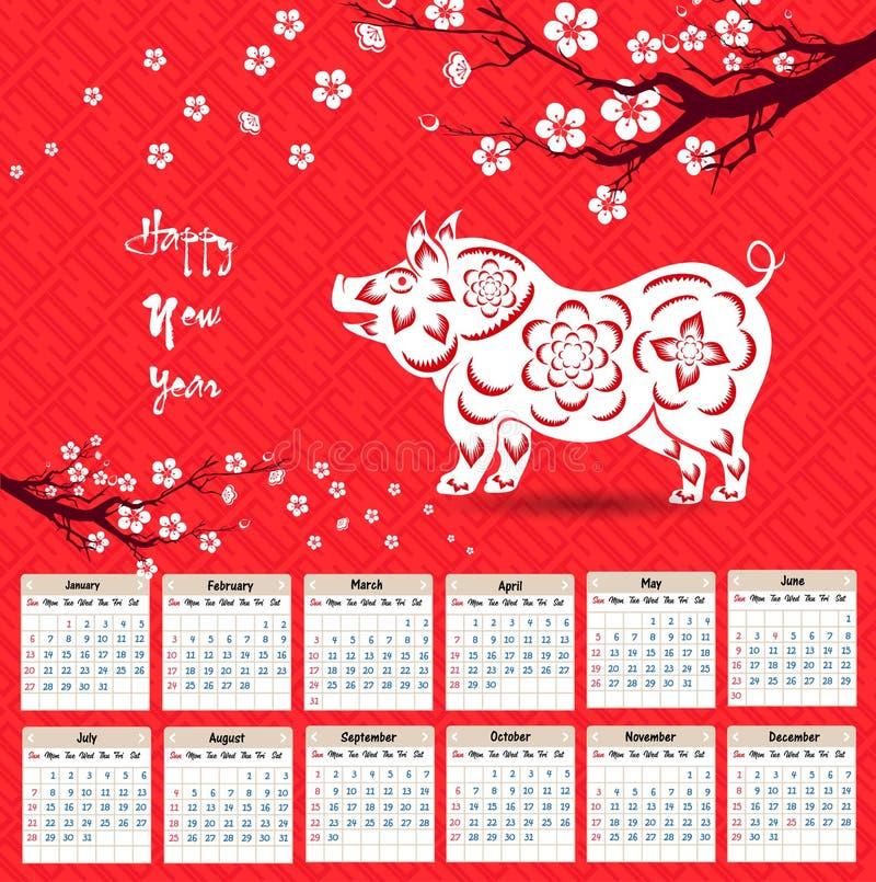 Calendar 2019 kinesiska kalender för lyckligt nytt år 2019 år av svinet stock illustrationer