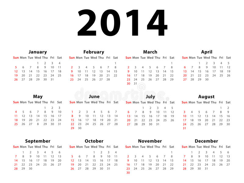 Calendar 2014 Landscape. Calendar of 2014 isolated on white background vector illustration
