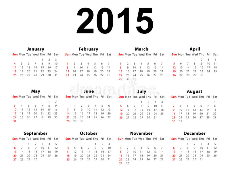 Calendar 2015 Landscape. Calendar of 2015 isolated on white background royalty free illustration