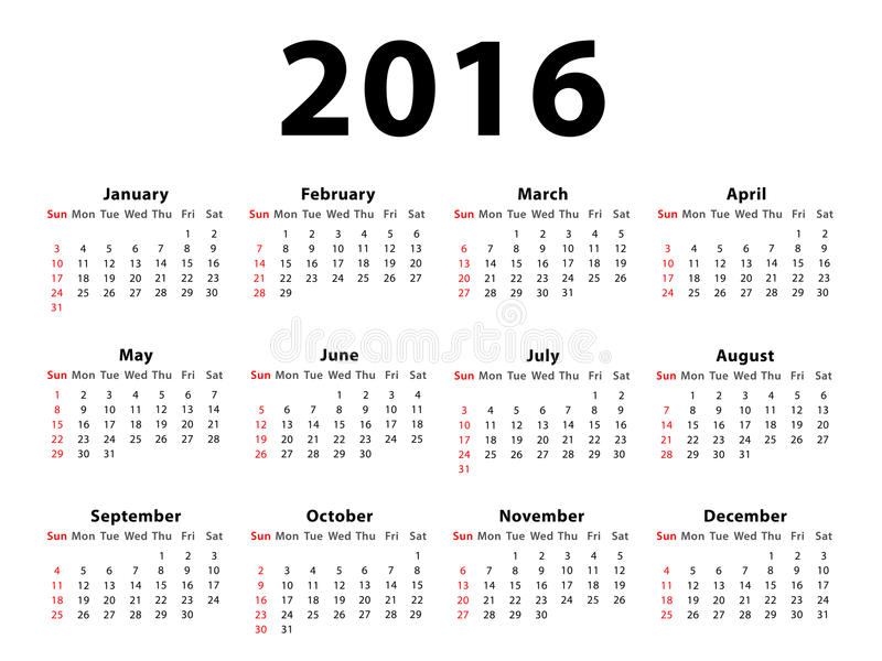Calendar 2016 Landscape. Calendar of 2016 isolated on white background stock illustration