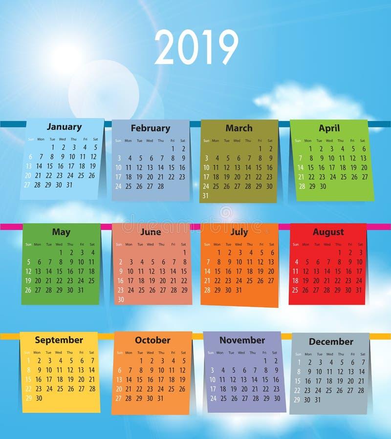 Calendar for 2019 like laundry on the clothline royalty free stock photo