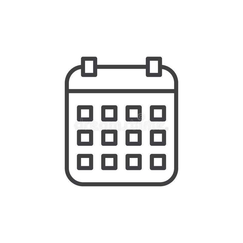 Calendar line icon, outline vector sign, linear style pictogram isolated on white. Symbol, logo illustration. Editable stroke. Pixel perfect graphics royalty free illustration