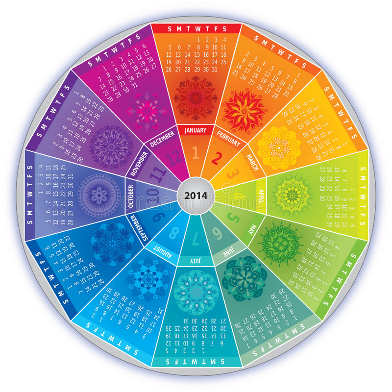 2014 Calendar with Mandalas in Rainbow Colors. And in Wheel Shape stock illustration