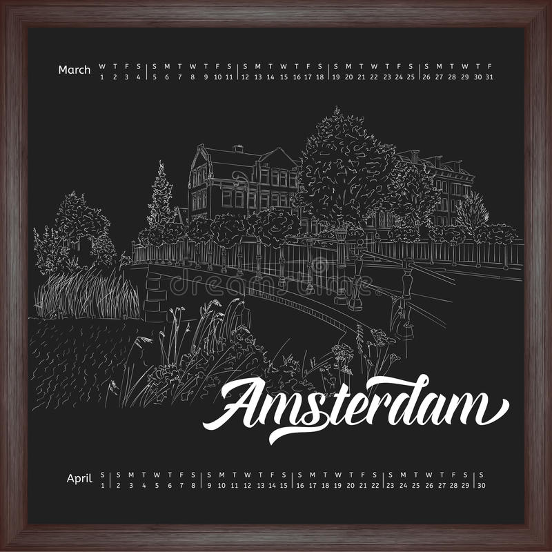 Calendar 2017 march, april with city sketching Amsterdam, Netherlands on chalkboard background royalty free illustration
