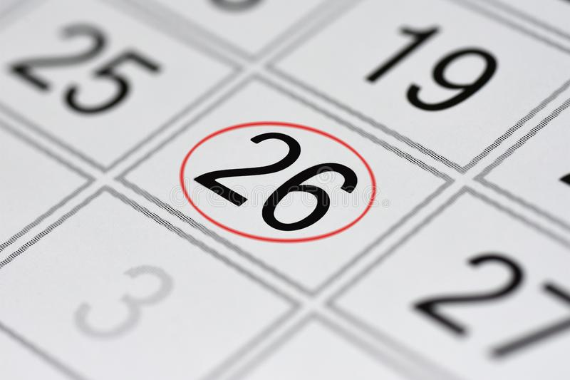Calendar, mark day of the week, date in the red circle, note, scheduler, memo, save the date, 26. Calendar mark day of the week, date in the red circle, note stock illustration