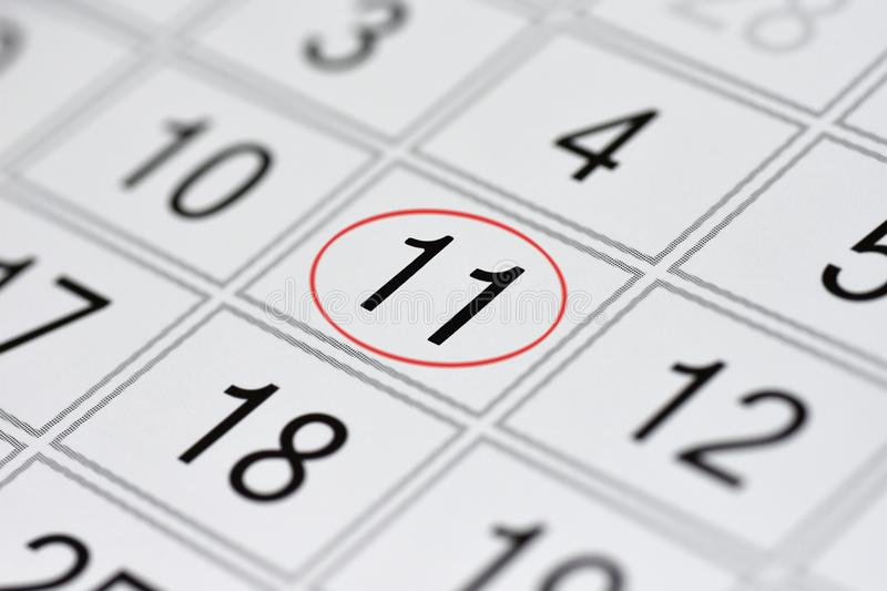 Calendar, mark day of the week, date in the red circle, note, scheduler, memo, save the date, 11. Calendar mark day of the week, date in the red circle, note stock illustration