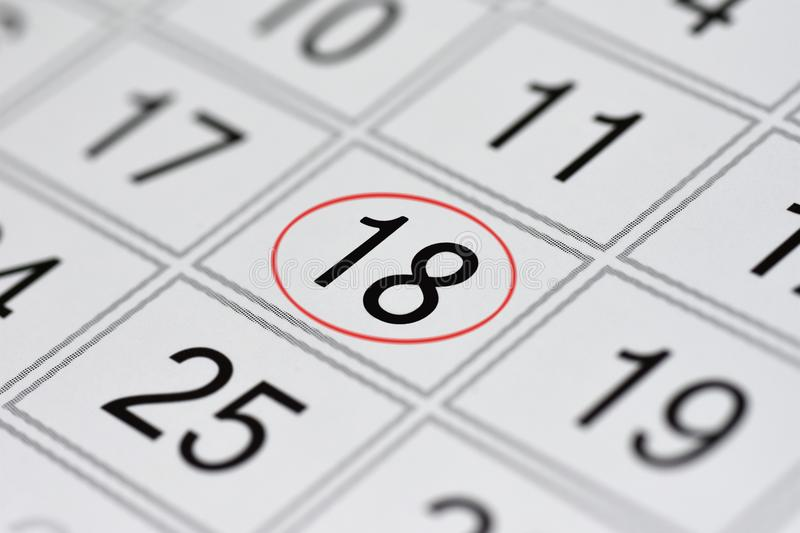 Calendar, mark day of the week, date in the red circle, note, scheduler, memo, save the date, 18. Calendar mark day of the week, date in the red circle, note stock illustration