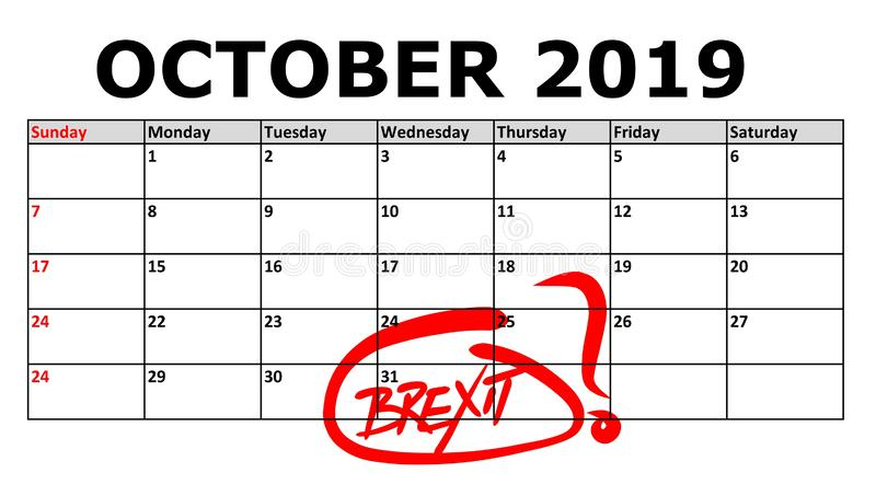 Calendar with marked date October 31, 2019 of Brexit royalty free stock photos