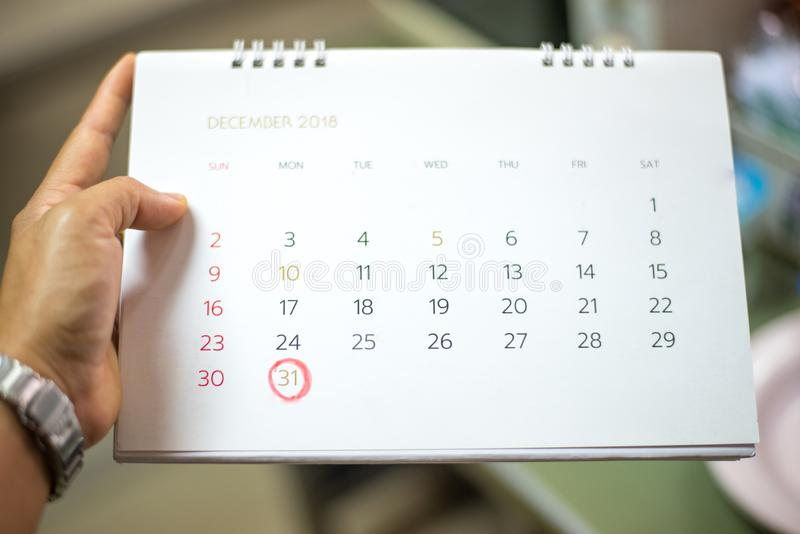 Marking on last day of 2018. Calendar marking on last day of 2018 stock photography