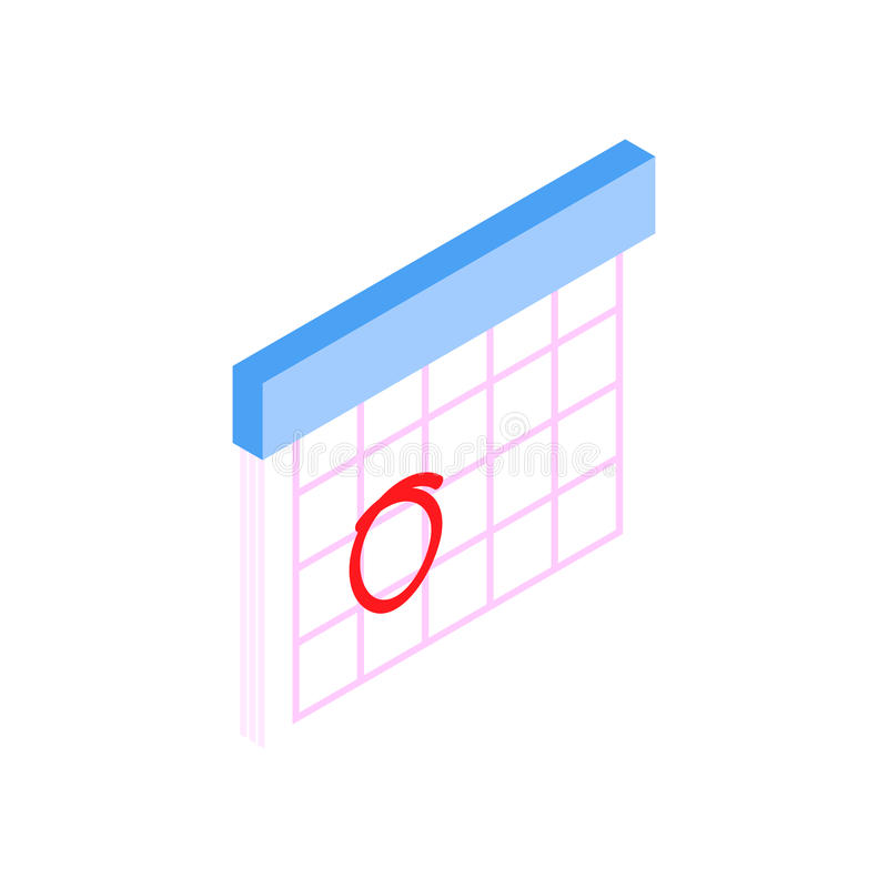 Calendar with marks menstrual days. Isometric 3d icon on a white background royalty free illustration