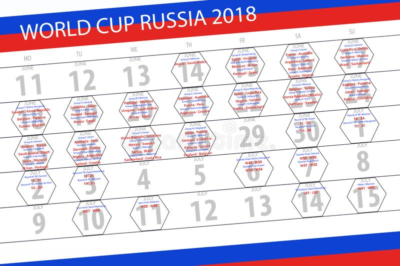 Calendar of matches of the World Cup in Russia 2018, football, schedule, cities, teams, groups stock photos