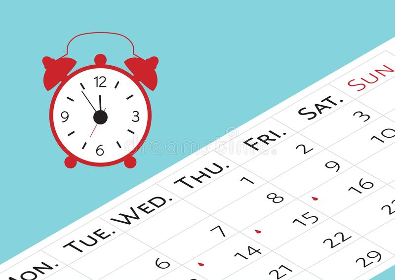 The calendar with the menstrual days marks. Vector illustration of blood period calendar with blood drops and clocks. Menstruation. Period pain protection royalty free illustration