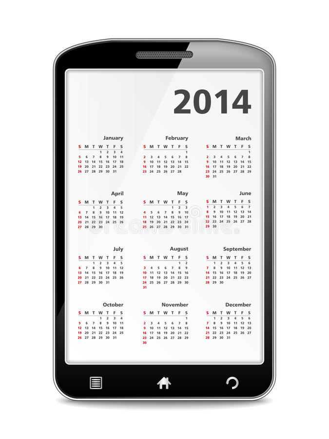 2014 Calendar in Mobile Phone royalty free illustration