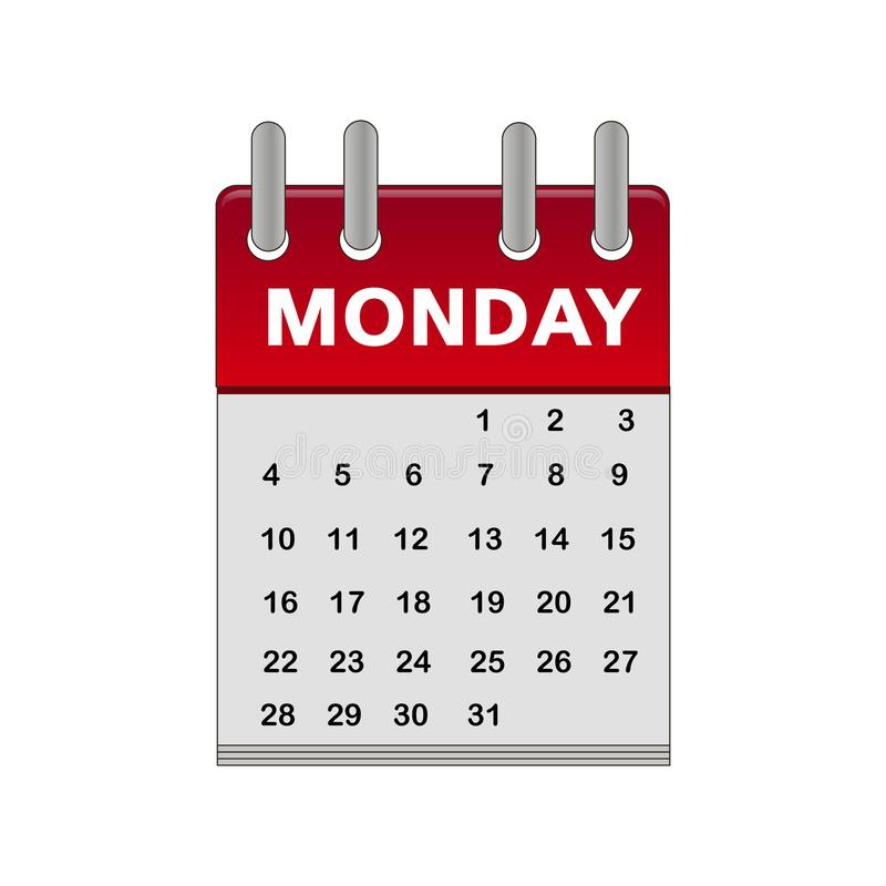 Calendar Monday icon monday royalty free illustration