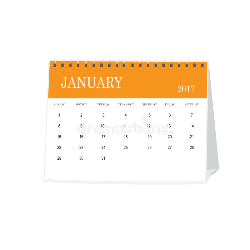 Calendar of the month January 2017 stock photo