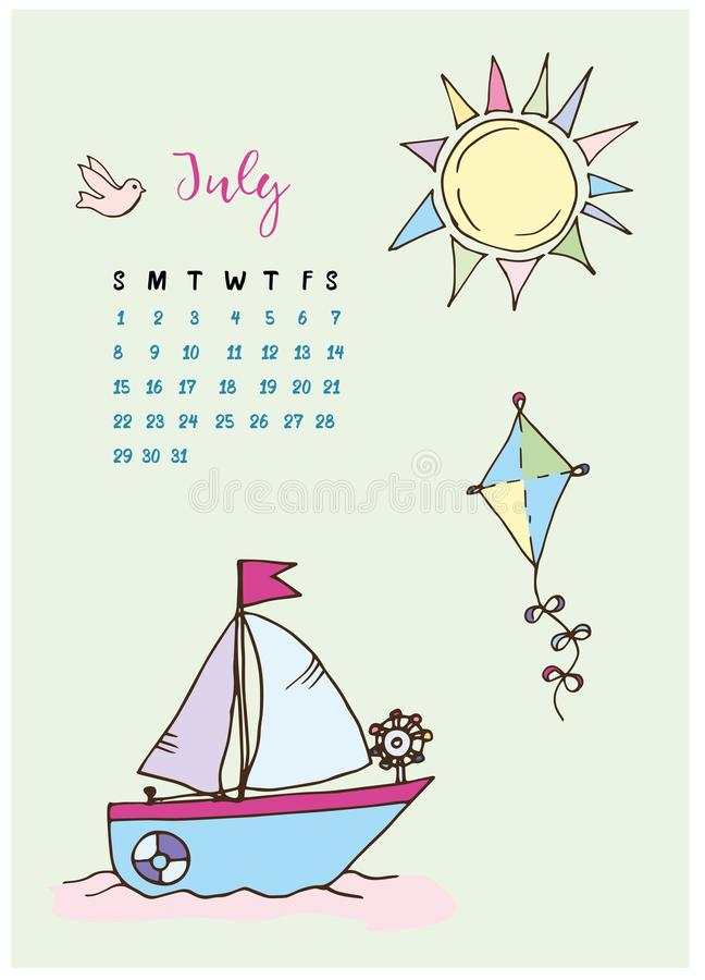 Calendar for the month of July 2018, the boat with a sail at sea. A kite and colored the sun with rays and a dove vector illustration