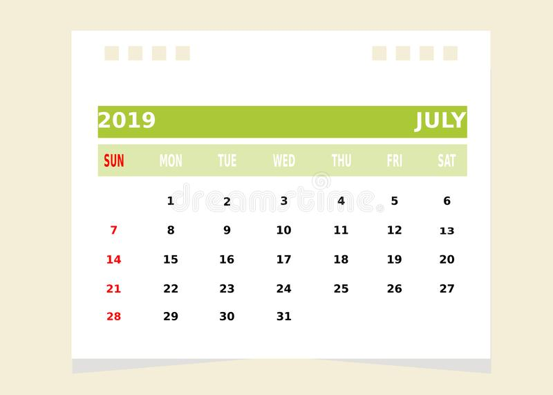 Calendar Month july vector illustration