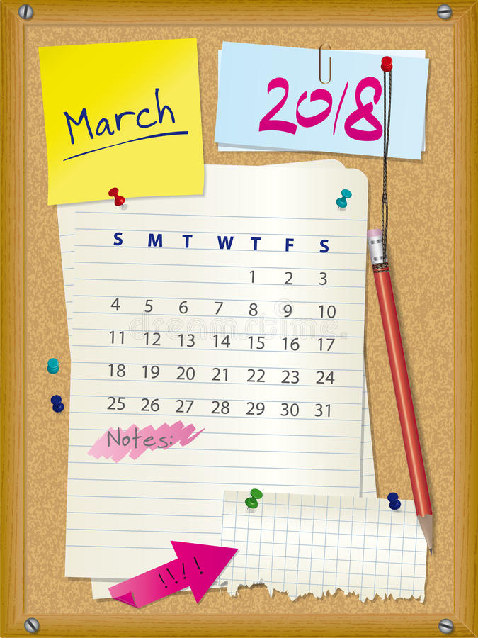 Calendar Illustration Board : Calendar month march cork board with notes stock