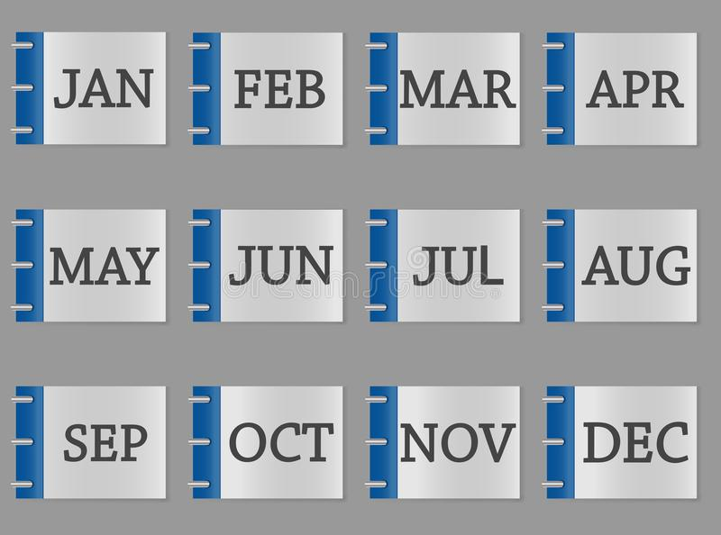 Calendar month set icon on grey and blue color stock illustration