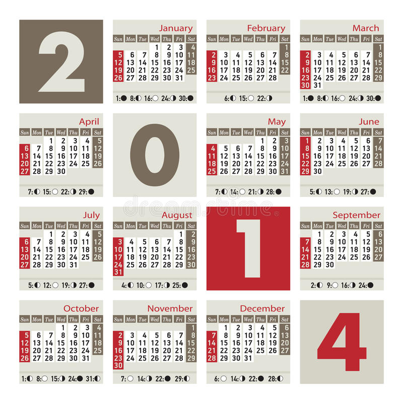August 2014 Cpo Offers Table Jpg: A 2014 Calendar Royalty Free Stock Images