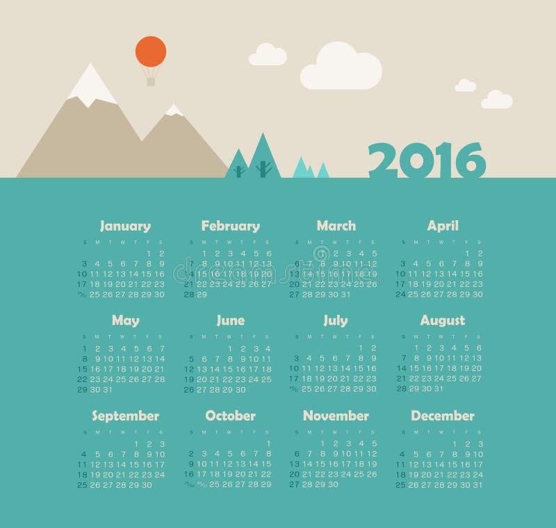 Calendar 2016 with mountain. Week Starts Sunday. Calendar for 2016 with mountain. Week Starts Sunday. EPS 10 stock illustration