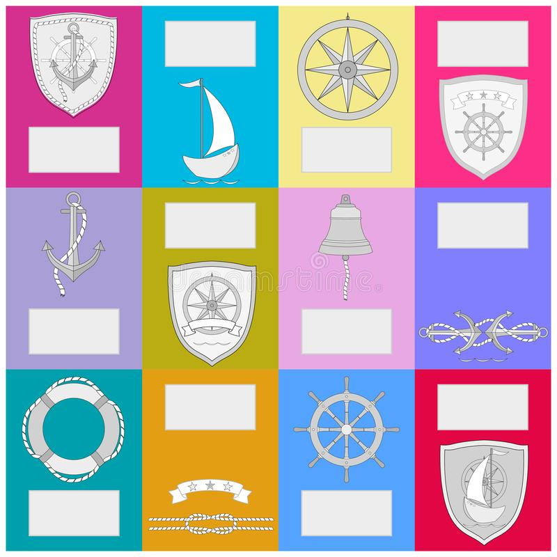 Calendar with nautical symbols. New Year banner . Vector colored illustration with free for text stock illustration