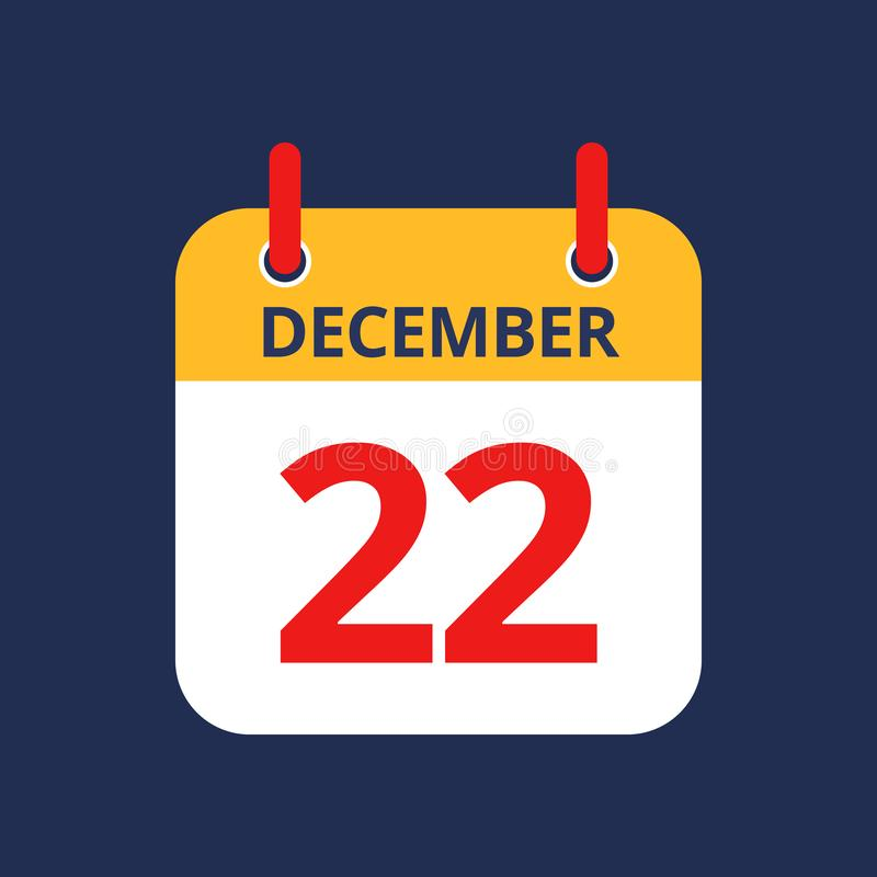 Calendar 22nd of December. Flat icon calendar 22nd of December isolated on blue background. Vector illustration royalty free illustration