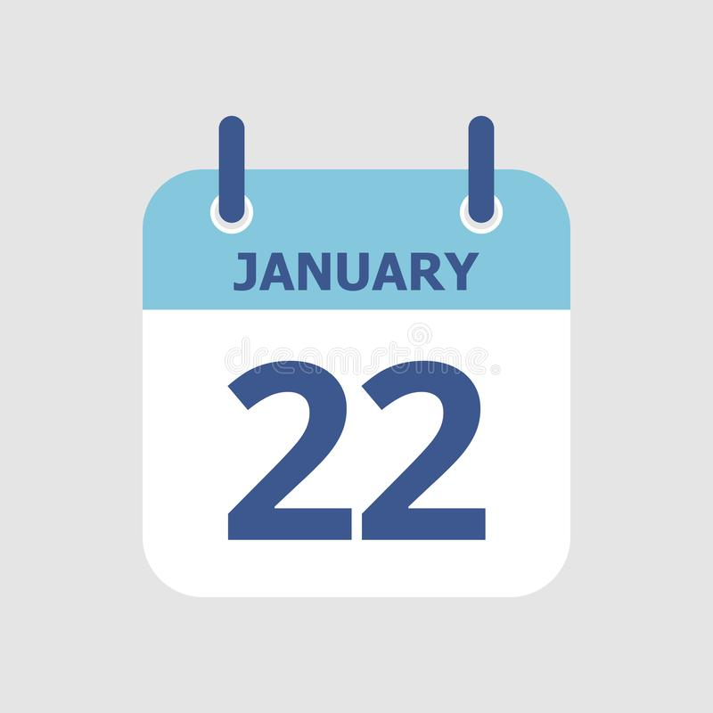 Calendar 22nd of January. Flat icon calendar 22nd of January isolated on gray background. Vector illustration vector illustration