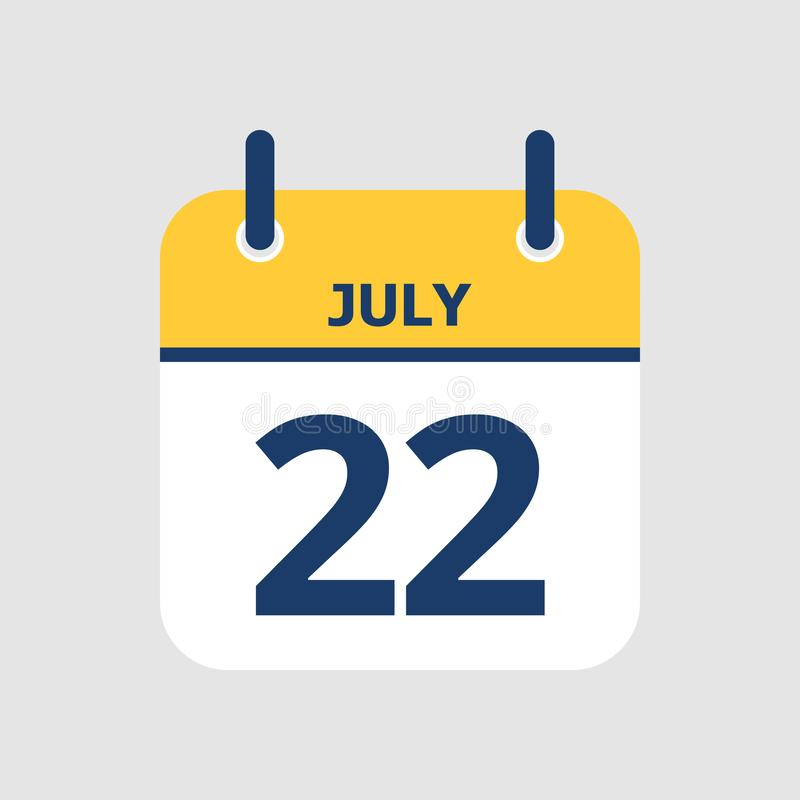 Calendar 22nd of July. Flat icon calendar 22nd of July isolated on gray background. Vector illustration vector illustration