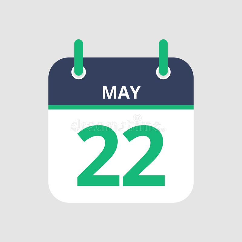 Calendar 22nd of May. Flat icon calendar 22nd of May isolated on gray background. Vector illustration stock illustration