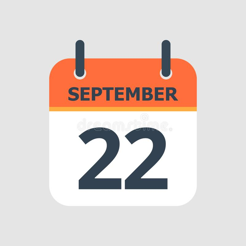 Calendar 22nd of September. Flat icon calendar 22nd of September isolated on gray background. Vector illustration stock illustration