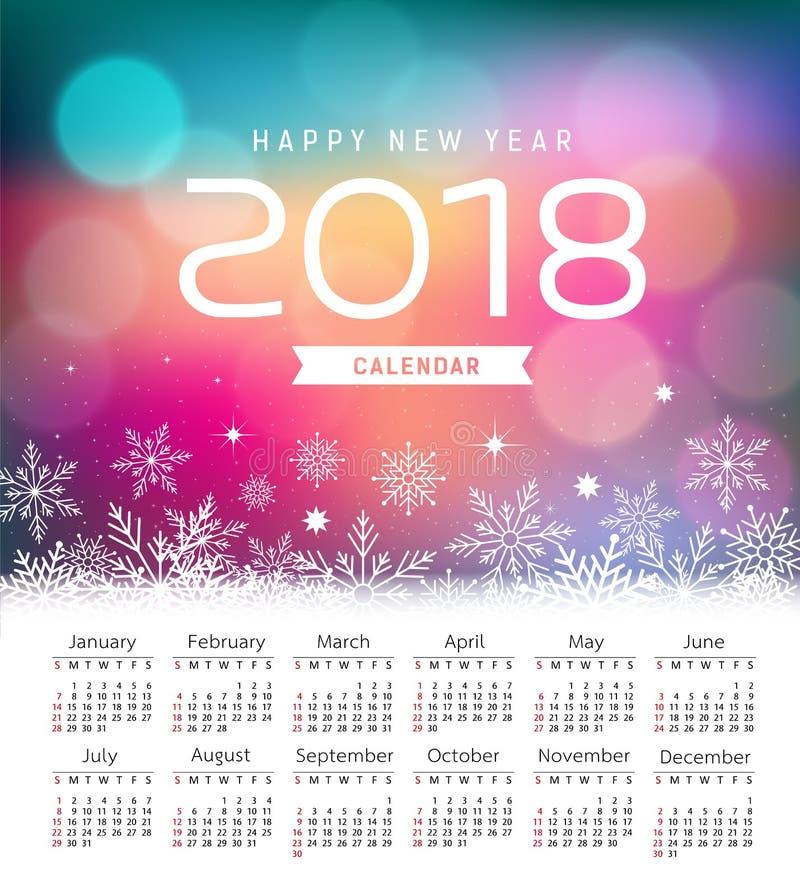 Calendar new year 2018, snowflake and purple bokeh royalty free illustration