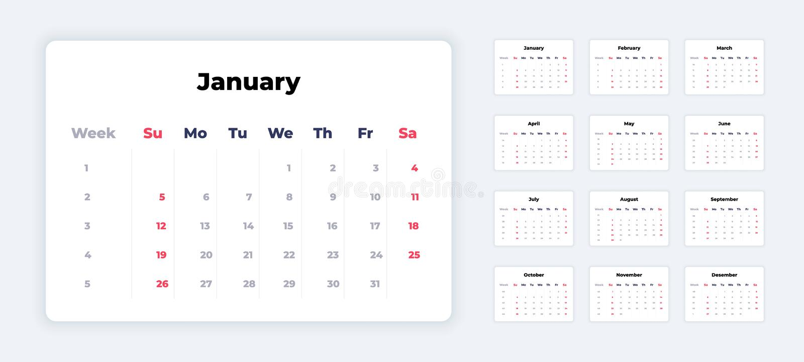 Calendar 2020. New year white template, corporate planner mockup, calendar application UI. Vector weeks and month vector illustration